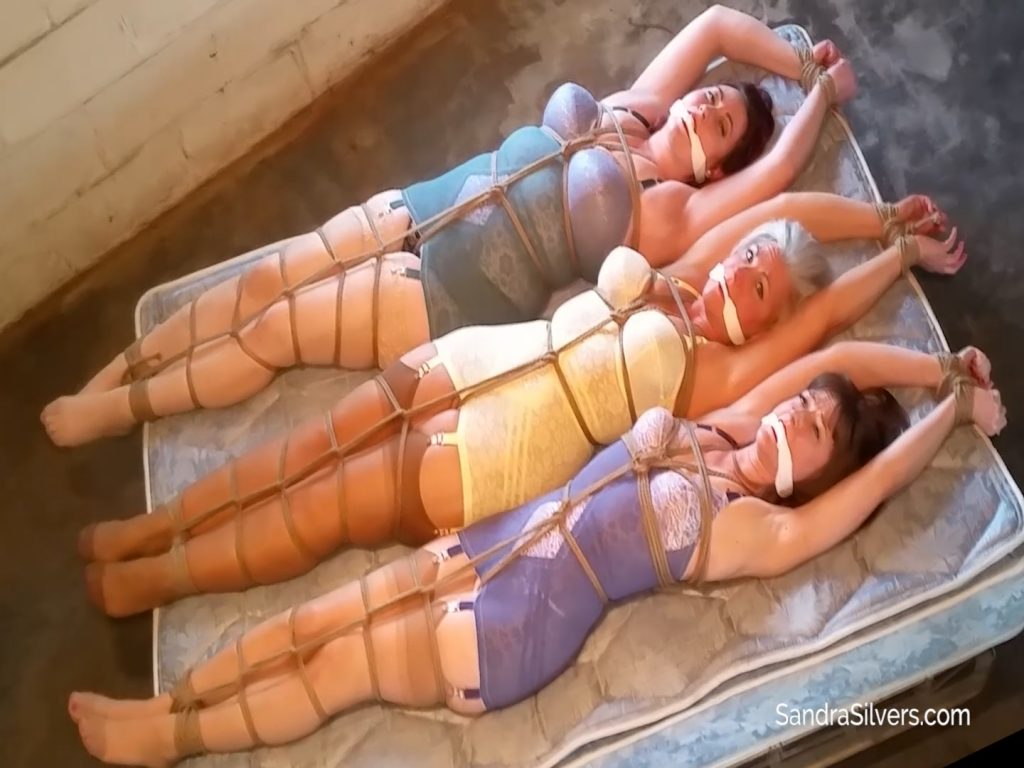 A Trio of Struggling Girdle Bound Damsels in Distress Stretched out AOH in the Warehouse! #1747 HD