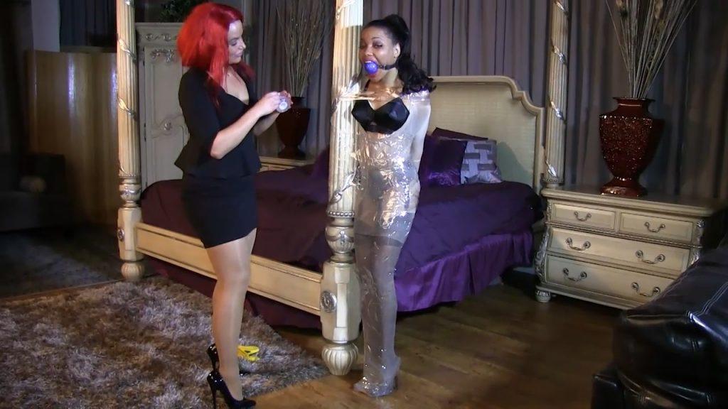 Classy lingerie, nylon encasement, clear tape & a huge ballgag