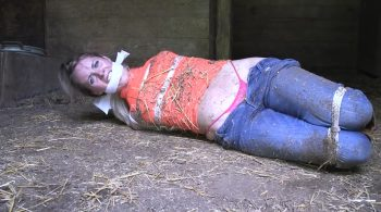 Farm Girl tied up and gagged in the barn