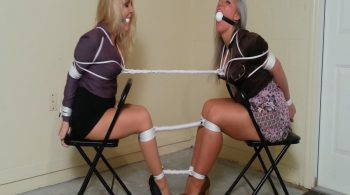 MILF Lawyer & Her Secretary Tightly Tied Together Get Vet Wrapped on Screen Over their Ballgags by Cleint's Ex! HD #1818