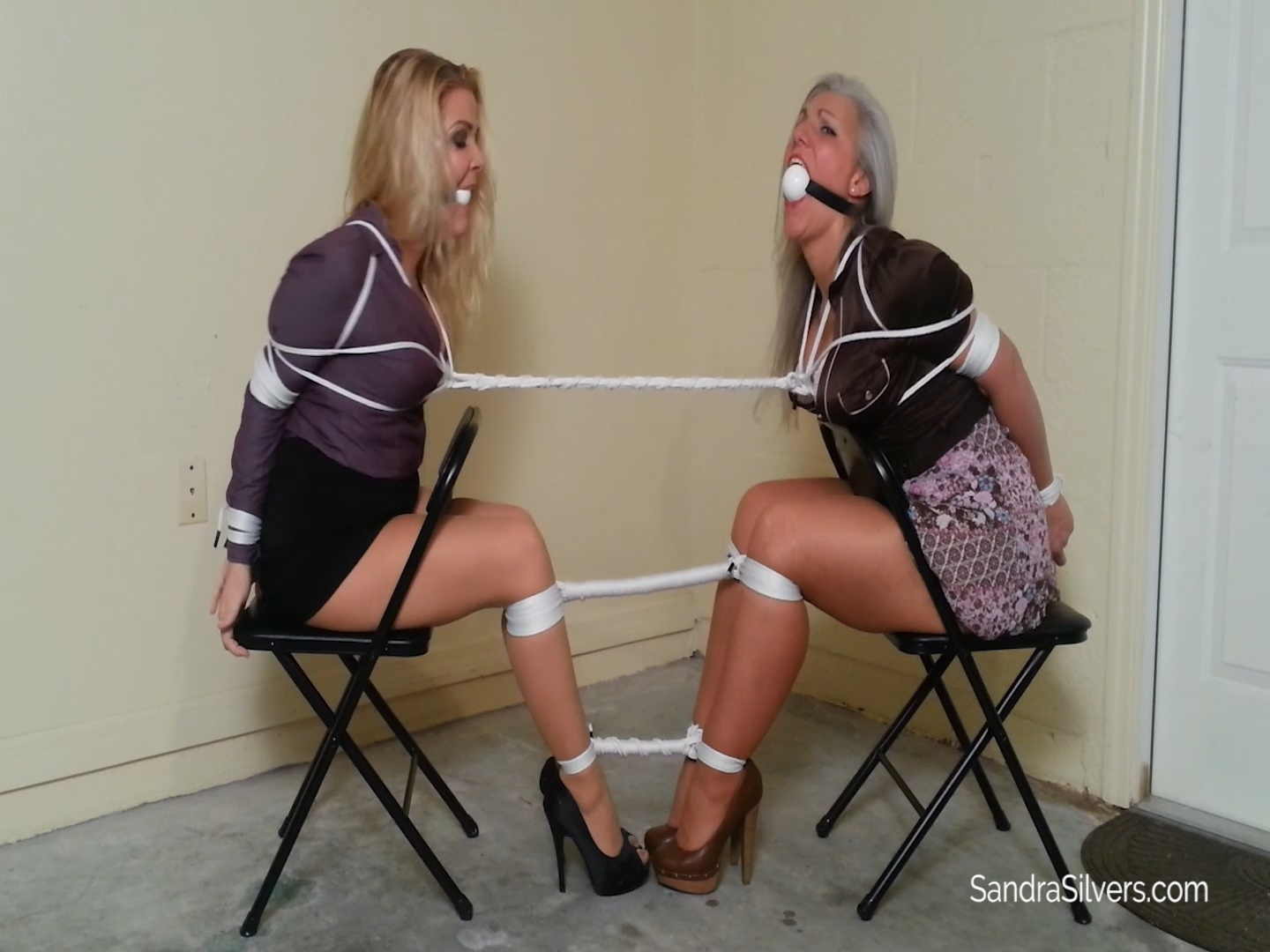 MILF Lawyer & Her Secretary Tightly Tied Together Get Vet Wrapped on Screen Over their Ballgags by Cleint