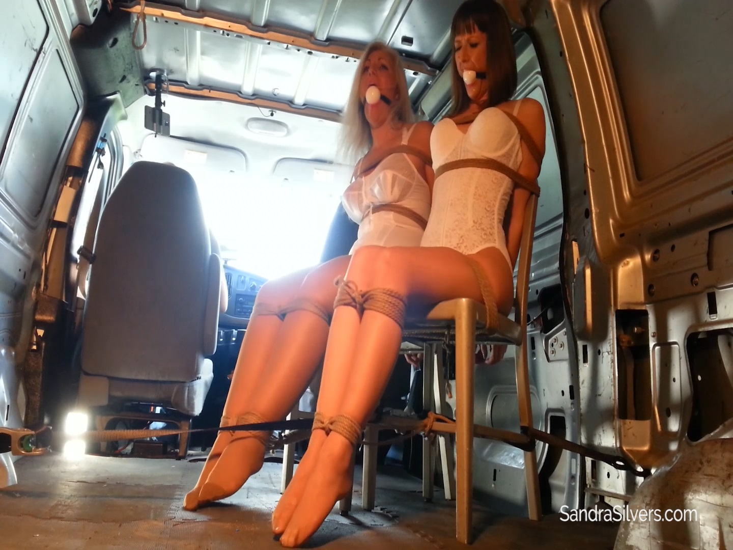 Nabbed Ballgagged Brides Stripped to Lingerie