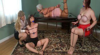 Sandra, Ruth & AJ, 3 Zip-Tied MILFs in Girdles, Groped by Mistress Lisa! #1812 HD