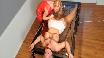 Spread-Eagle Girdle-Bound MILF is Oral Sex Plaything of Glamour-Gowned Lesbian Mistress! HD #1813