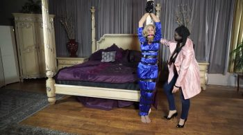 Taped up and petted in silky satin pajamas – Bondage: JJ Plush, Born to be Bound – Dakkota Grey