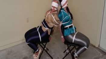 Two Tightly Tied, Blindfolded, MILF Spandex Disco Pants & Silk Blouse-d Secretaries Gagged on Screen! #1833