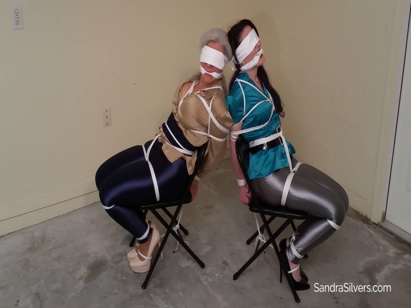 Two Tightly Tied, Blindfolded, MILF Spandex Disco Pants
