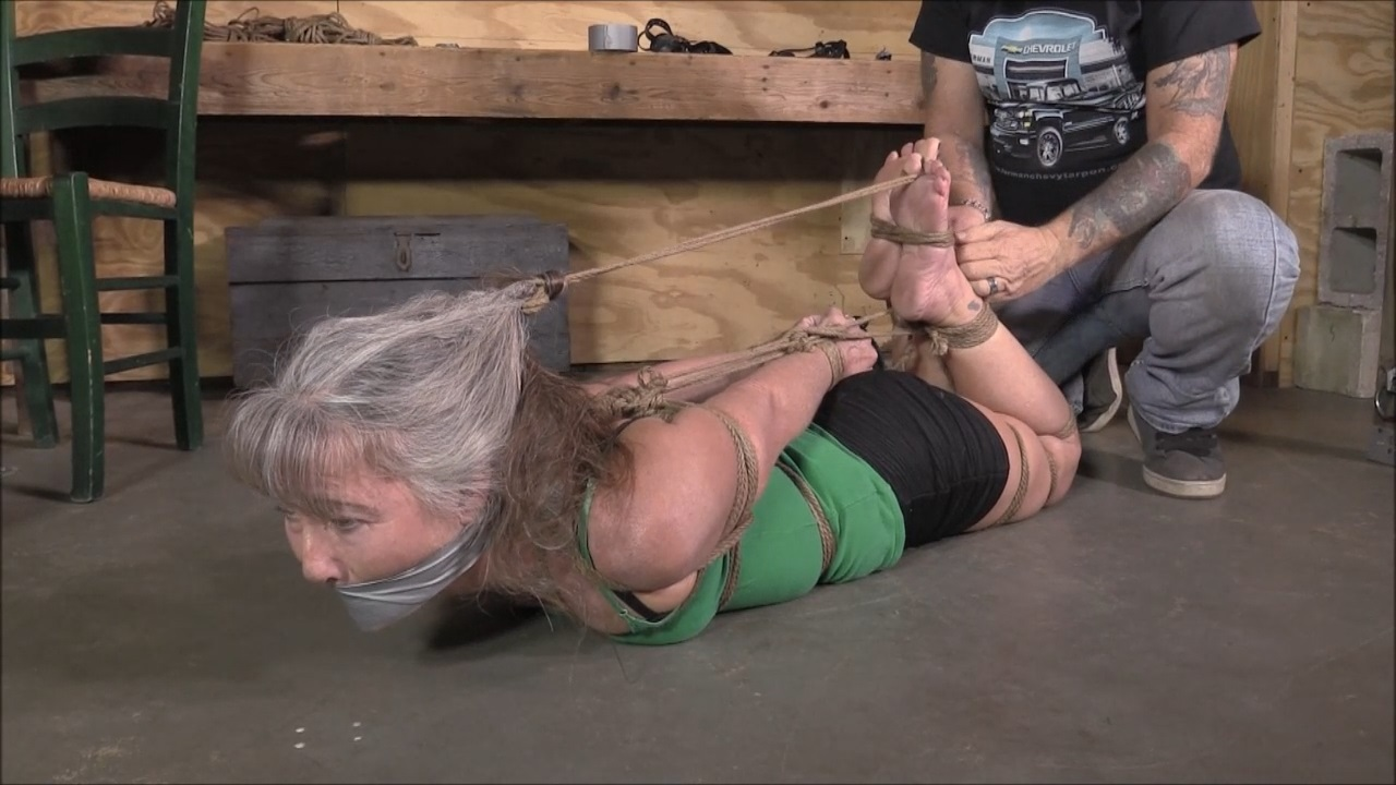 Brutally Hogtied Milf