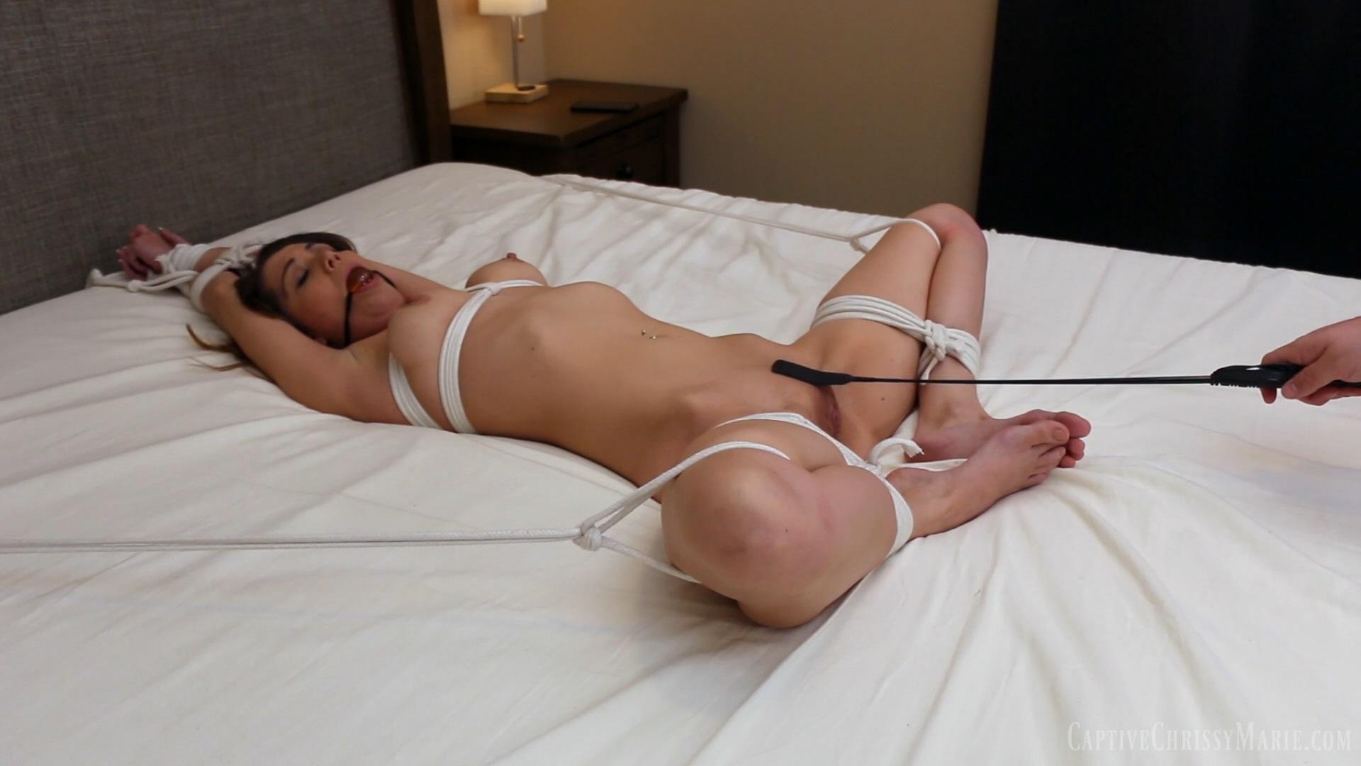 Slavegirl Bound Spread to the Bed 2
