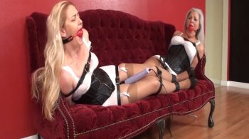 Corseted & Girdled Slaves Lisa & Sandra Lashed w/ Leather for Ballgagged Bondage Orgasms! 1858