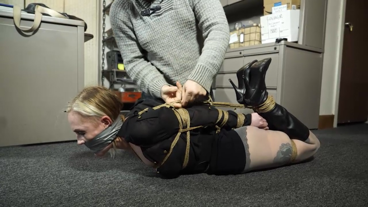 Office girl tormented by a couple