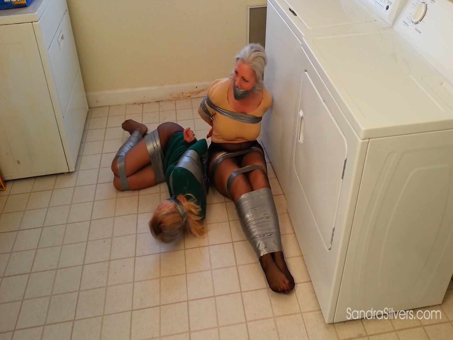 Pantyhose Peril when MILF Roommates Are Duct Taped in the Laundry 1857