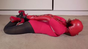 RS-121 Movie – Red Bodysuit Armbinder – Mina