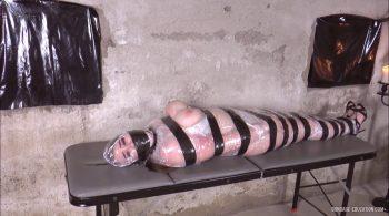 First Plastic Bondage: busty Sasha wrapped, taped and mouth stuffed with 3 gauze bandages – Mistress Roxanne Fox & her girls (Bondage-Education)