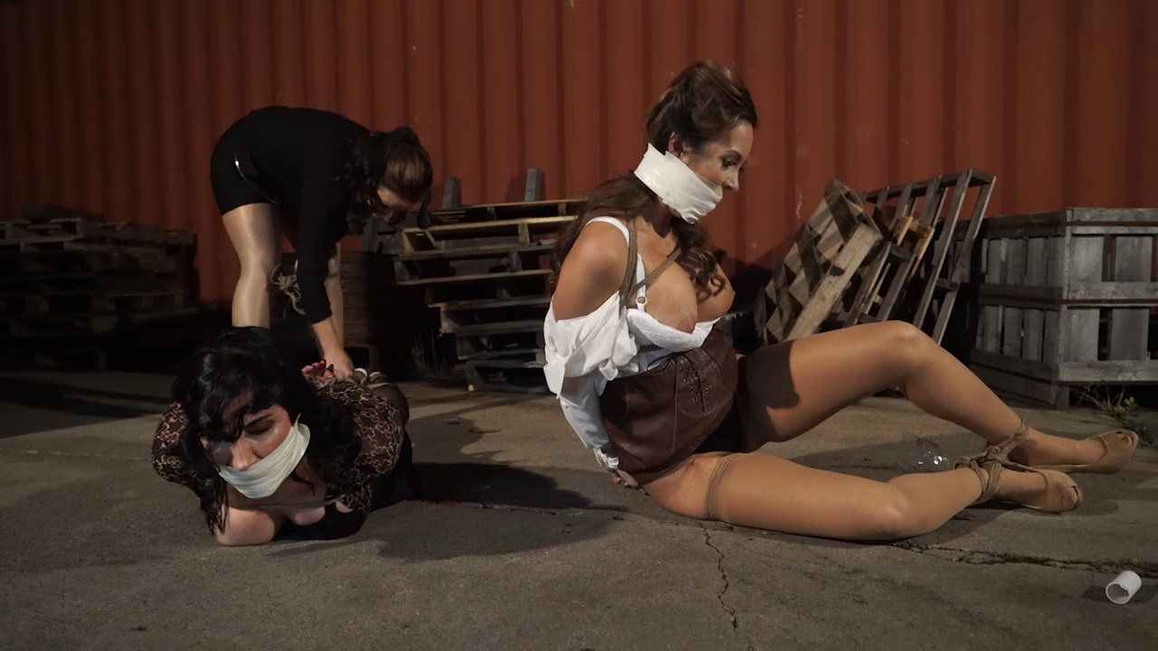 Scrawny bitchy fake tittied office girls tied up by the jealous fat bitch