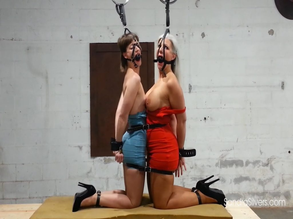 Lovely Ladies Lashed Together with Leather, Harness-Gags Held High Above Their Heads! #1963 HD – Sandra Silvers – Please Tie Me Up