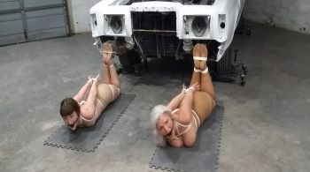 Sandra Silvers – Please Tie Me Up – Two Ballgagged & Drooling, Pantyhosed MILFs Hogtied in the Auto Shop #1944 HD