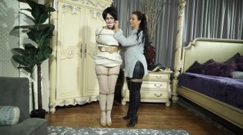 Bondage: JJ Plush, Born to be Bound – Sweater dresses & a full bush peeking through lace tights – Amanda Marie