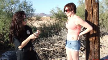 Violet Pixie is found trespassing. She is searched and arrested by Officer Persephone. – Prison Teens