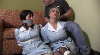 Housekeeping Girls kept bound and gagged in a hotel room – Mouth Stuffed and Tied Up Girls