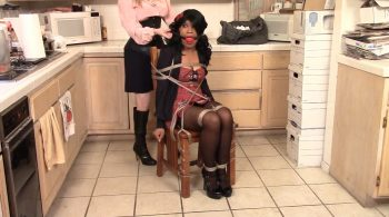 Tied in Schoolgirl Dress and Ballgagged to Keep Quiet – Cupcake Sinclair roped by Lorelei – BEDROOM BONDAGE by Lorelei
