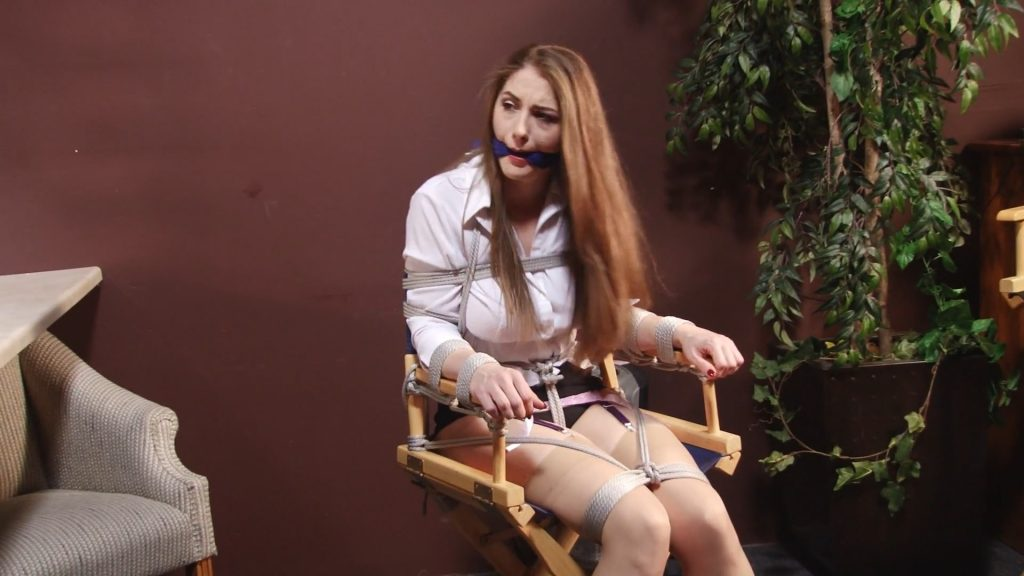 Actress Tied to Directors Chair and Breasts Exposed – starring Miss Terra Mizu – BEDROOM BONDAGE by Lorelei