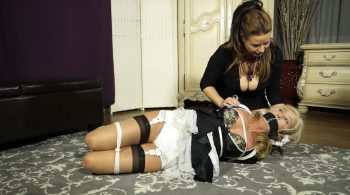 Hogtied with her heel tied to her face – Bondage: JJ Plush, Born to be Bound
