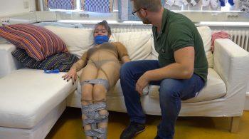 Luna Grey – Pantyhose Encased Taped Up Tickling HD – Restricting Ropes