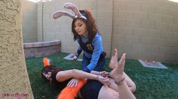 Fox hogcuffed by officer Hops Cosplay and Tickled! – Welcome to Pink Cuff Clip Store