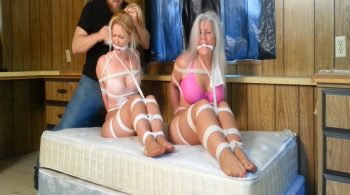 Two MILFs Held in the Trailer, Tightly Tied Neck-to-Knees, Duct Tape Gagged on Screen! – Sandra Silvers – Please Tie Me Up