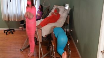 FOUR Plastic & Vet-Wrapped MILFs Mummified in the Hospital Exam Room! – Sandra Silvers – Please Tie Me Up