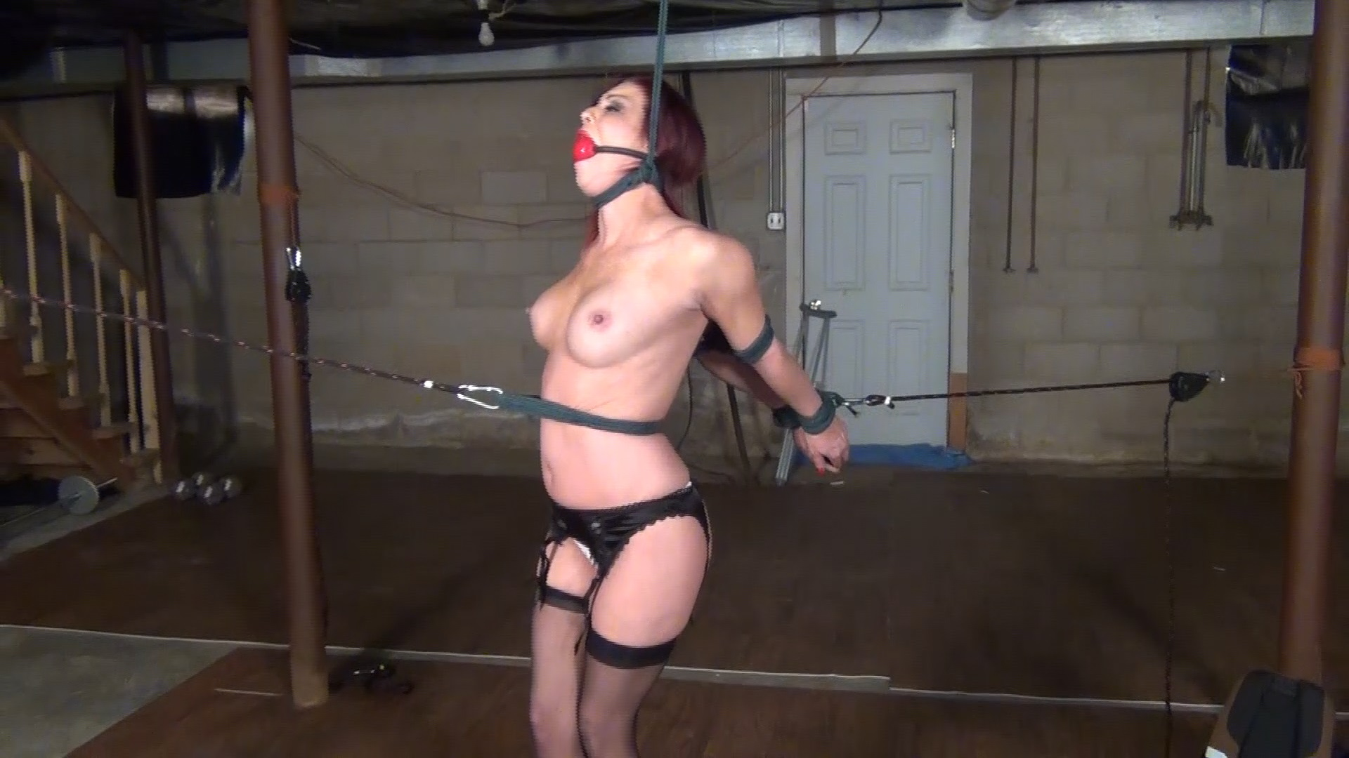 Sarah Brooke_Strappado and Ankles tied crossed_ITN