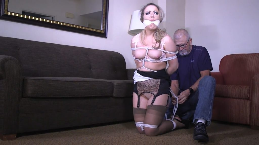 You have me tied up and gagged! Now you better pull my panties down and fuck me! – Girl Next Door Bondage