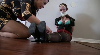 Hogtied cutie in black pantyhose – Bondage: JJ Plush, Born to be Bound