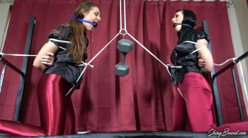 Sadie Holmes and Nyxon.. Crotch Rope Tug O' War – ShinyBound Productions