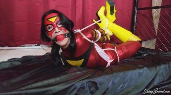 Raven Eve.. Spiderwoman Hogtied – ShinyBound Productions