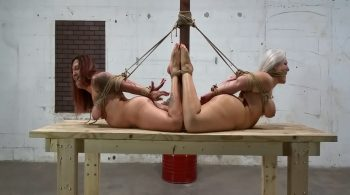 Barefoot, Naked MILFs Endure Brutal Boob Bondage, Backbreaker Hogties and rope gags while held in the warehouse! #2071