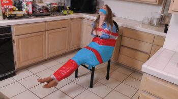 Secured Security Guard in Kitchen Wrap and Duct Tape! Ashley Lane – BEDROOM BONDAGE by Lorelei