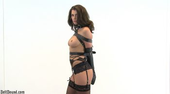Alisa – glamour model strapped in an armbinder – BeltBound.com Clip Store