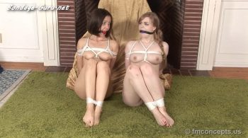Dolly Leigh Binds, Dominates and Tickles Ball Gagged and Helpless Jenna Sativa! Then They're Both Tied Up!