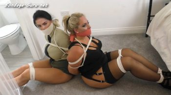 Maxie & Kellie in: Thrilling Army Base Banditry: Two Extremely Gagged & Pig-Trussed Sirens Found Raging @ the Scene!