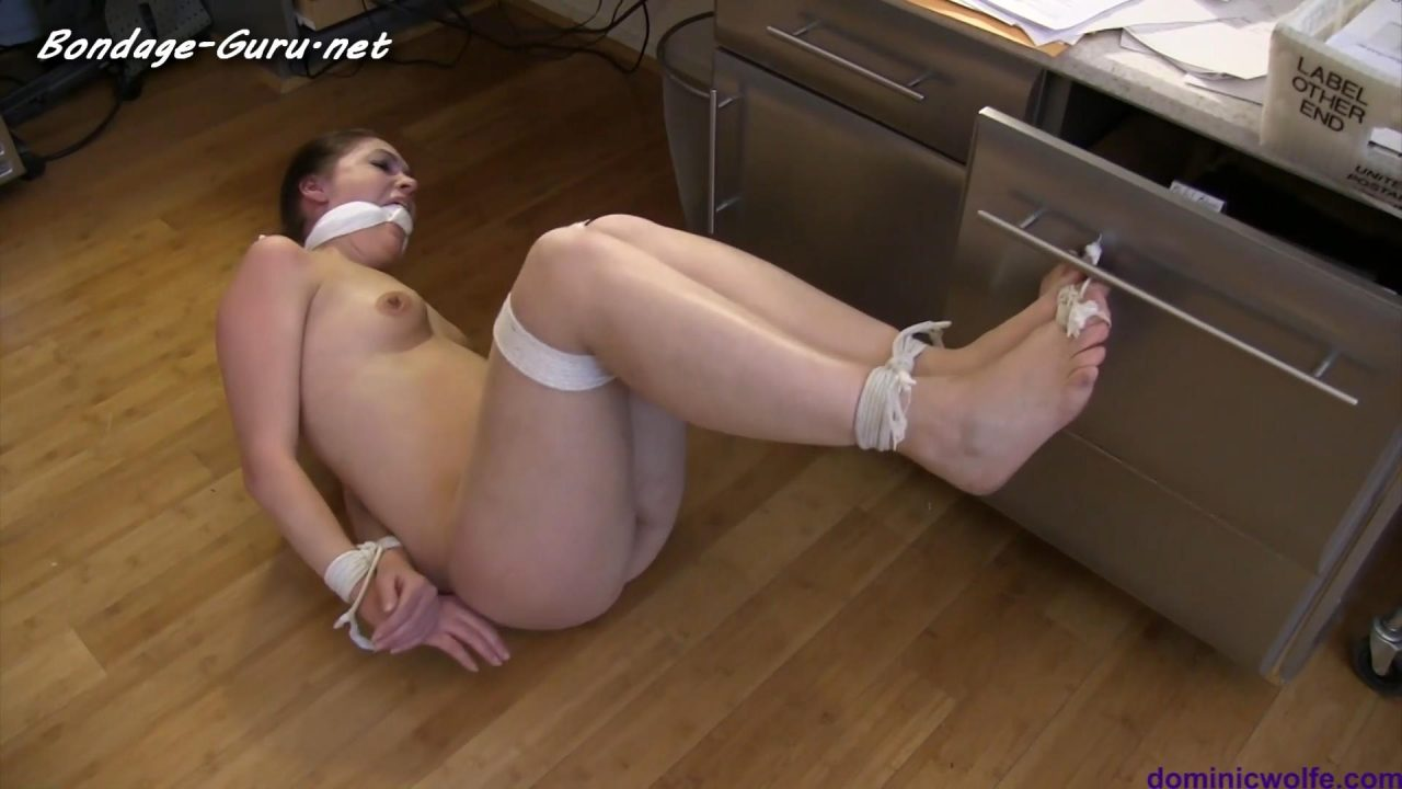 Rachel Adams Tightly bound gagged & Squirming around her Flat in_Nude Escape Attempts