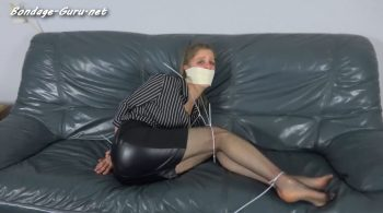 Violet Haze – Bank Employee Tied & Tapegagged by Bank Robber – Restricting Ropes