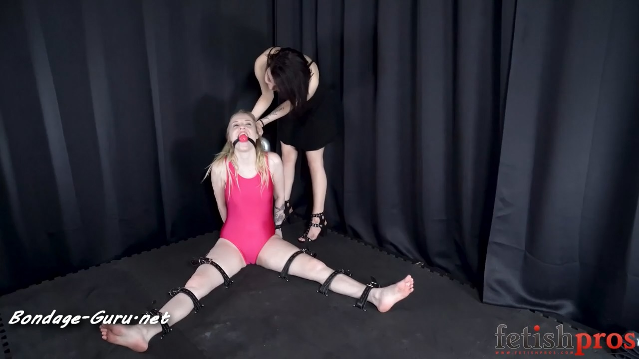Violet Strapped to the Floor for Orgasms