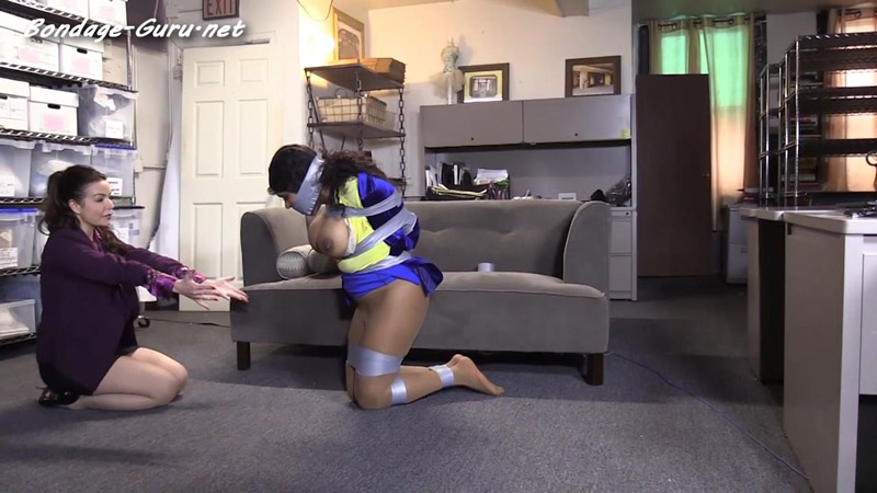 Busty office girl all taped up
