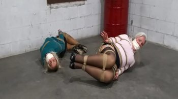 Sweaters, skirts and stockings clad MILF Damsels in distress team up for escape attempt in the warehouse! #2232