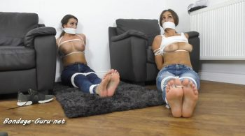 Borderland Bound – Chloe, Pandora, Taylor & Chantelle in: HELPLESS Bound & Gagged Stunners' Tight Blue Jeans, Barefoot Toe-Tied Danger Delight!