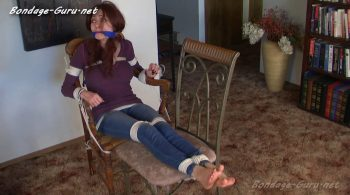 Hot MILF Natasha Flade Chair-Tied Barefoot by Son in Jean Leggings & Sweater! – Bondage by Centaur Celluloid