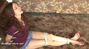 Mom Natasha Flade Teases Boy with Her Bare Feet While Tied to Table Leg In Jean Shorts! – Bondage by Centaur Celluloid