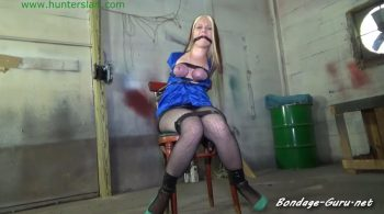 Hunters Lair Bondage – Her big tits throb & swell brutally bound in shiny black tape